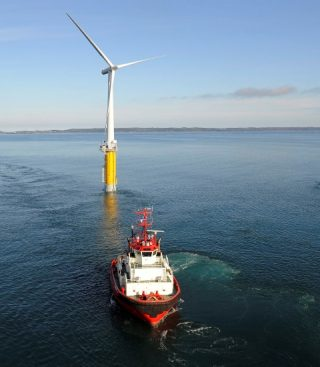 The Hywind demonstration turbine in the North Sea. Statoil launched the project in 2009. PHOTO: Øyvind Hagen/Statoil
