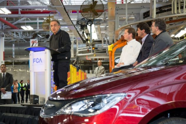 FCA chairman and CEO, Sergio Marchionne, speaking to employees at the official launch of the all-new 2017 Chrysler Pacifica in Windsor, Ont. plant May 6. PHOTO: FCA PHOTO: FCA