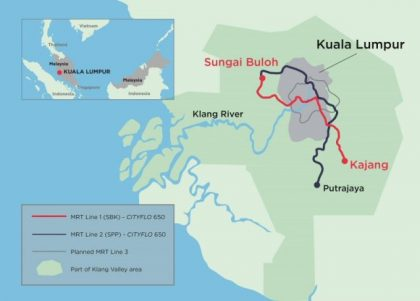 The 52.2-kilometre line will connect two districts on the outskirts of Kuala Lumpur. PHOTO: Bombardier