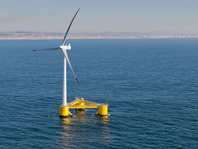 A WindFloat turbine off the coast of Portugal, one of several demonstration floating turbines currently at sea. PHOTO: Untrakdrover, via Wikimedia Commons