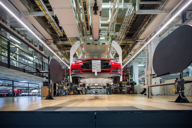 Model S production at Tesla's Fremont, Calif. plant. PHOTO: Alexis Georgeson/Tesla