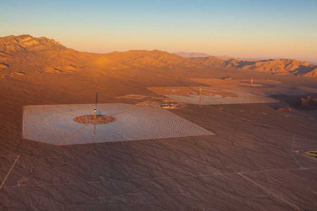 The 392-megawatt Ivanpah Solar Electric Generating Station is currently, the largest thermal solar plant in the world. PHOTO: Bechtel