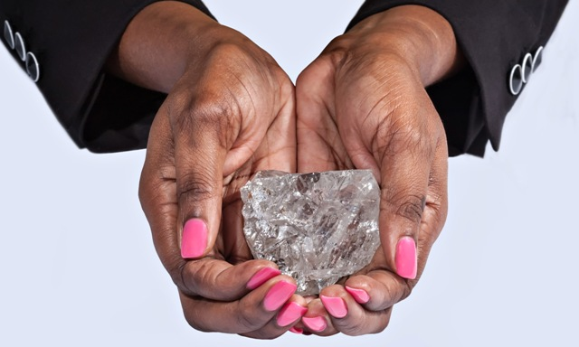 The 1,111 carat diamond recovered at Lucara's Botswana mine last year is the second-largest diamond ever unearthed. PHOTO: Lucara