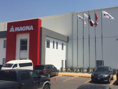 Entrance of Magna's new plant in Queretaro, Mexico, northwest of Mexico City. PHOTO: Magna