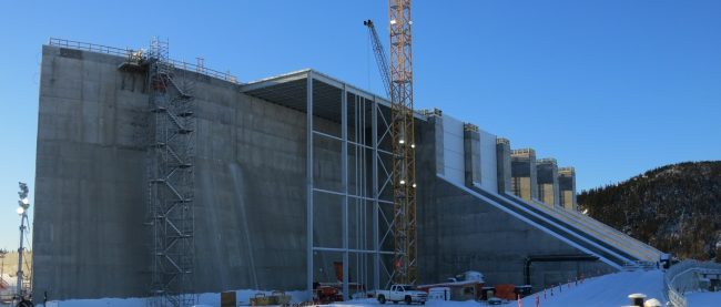 Construction of the center transition dam between the spillway and powerhouse at Muskrat Falls. PHOTO: Nalcore Energy.