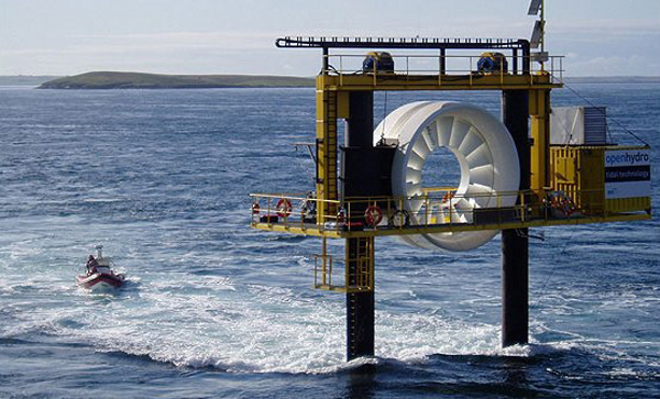 A test of OpenHydro's turbine. An operating unit was tested in the Bay of Fundy in 2009, but the Bay's famous tides proved too powerful. PHOTO: OpenHydro