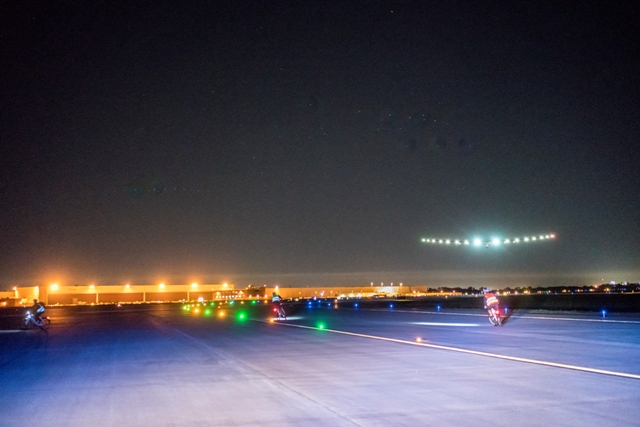 Solar Impulse 2 landing at the Tulsa airport in Oklahoma following a 16-hour flight from Phoenix. PHOTO: Solar Impulse
