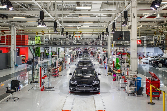 The plant floor at Tesla's Fremont, Calif. facility, where the automaker currently produces the Model S and Model X. PHOTO: Alexis Georgeson/Tesla