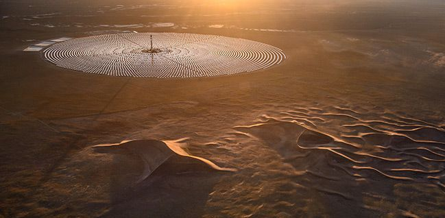 SolarReserve's 110 megawatt Crescent Dunes thermal storage plant, which reached full production earlier this year. PHOTO: SolarReserve