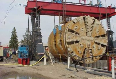 One of the large  tunnel boring machines being hoisted out of the western segment of the Eglinton Crosstown light rail transit route. PHOTO: CrosstownTO