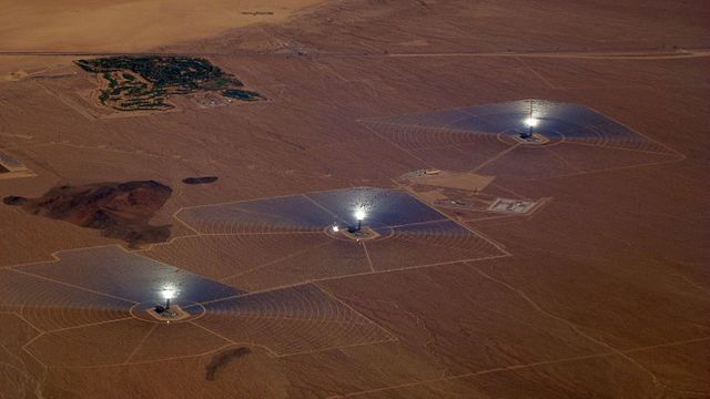 The Ivanpah Solar Power Facility in California, currently the world's largest concentrated solar plant. PHOTO: Jllm06, via Wikimedia Commons
