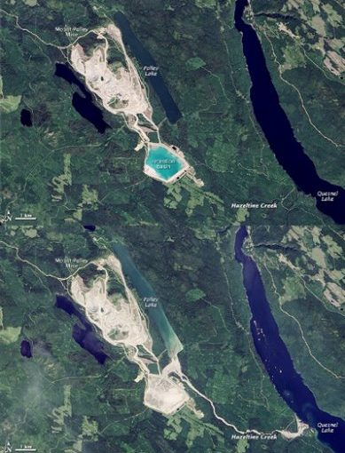 Satellite images of the Mount Polley site before and after the failure of the tailings pond