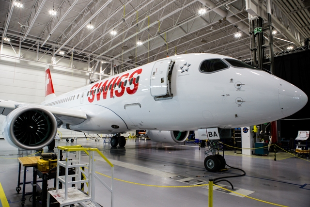 Bombardier' plans to deliver the first CS100 to Swiss next month. PHOTO: Bombardier