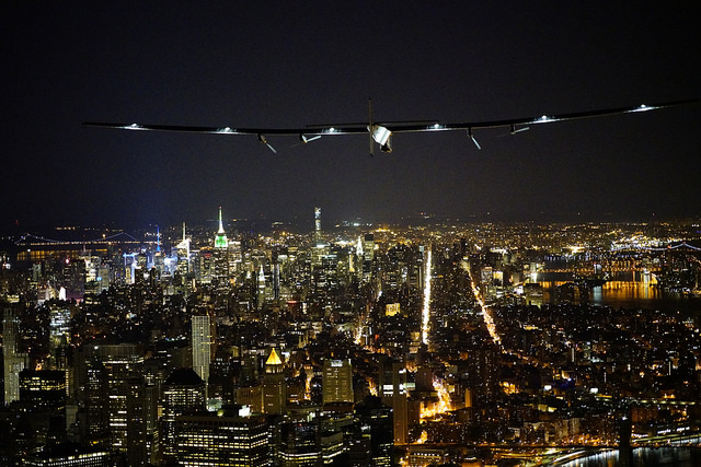 Solar Impulse 2 over New York City. The plane spent several days in the eastern U.S. city before embarking on its flight across the Atlantic. PHOTO: Solar Impulse