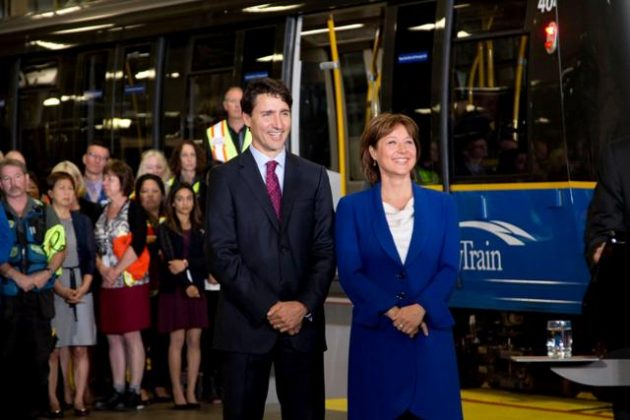 Prime Minister Justin Trudeau and B.C. Premier Christy Clark made the funding announcement in Vancouver June 16. PHOTO: Government of B.C.