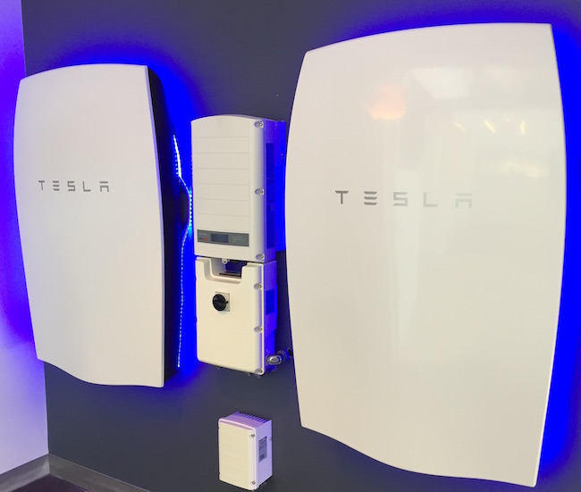 The two Tesla 7kWh Powerwalls at Veridian's headquarters in Ajax, Ont. The project is the first of its kind in Canada. PHOTO: Veridian Connections