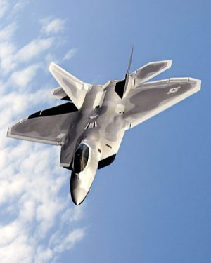 The Lockheed Martin F-22 Raptor in flight.