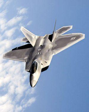 The Lockheed Martin F-22 Raptor in flight.