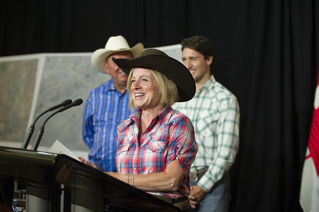 Accompanied by Premier Rachel Notley, Prime Minister Justin Trudeau made the announcement July 15. PHOTO: Premier of Alberta, Flickr