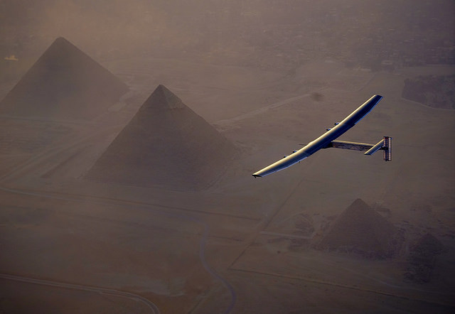 Solar Impulse 2 swoops over the Egyptian pyramids on the outskirt of Cairo on the penultimate flight of its around-the-world tour. PHOTO: Solar Impulse