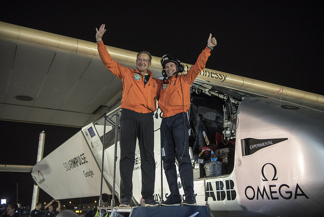 Solar Impulse pilots Bertrand Piccard and André Borschberg after completing the final leg of their around-the-world tour. PHOTO: Solar Impulse, via Flickr