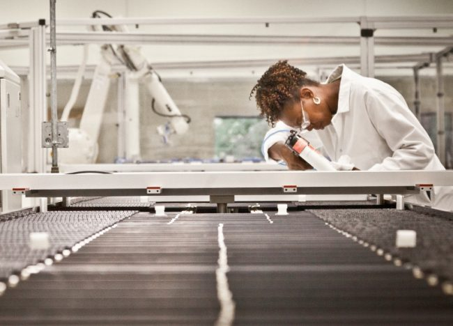 After moving to a 300,000 square-foot facility once owned by Nortel in 2015, the solar panel maker is looking to scale up. PHOTO: Strathcona Energy Group