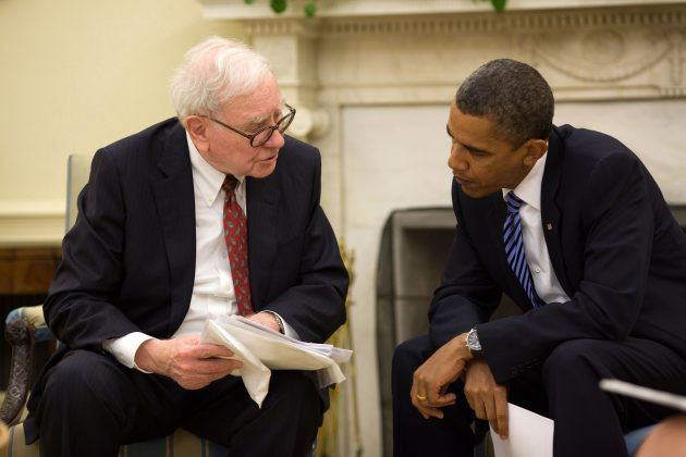 President Barack Obama meets with Warren Buffet in the Oval Office, July 14, 2010. (Official White House Photo by Pete Souza)
