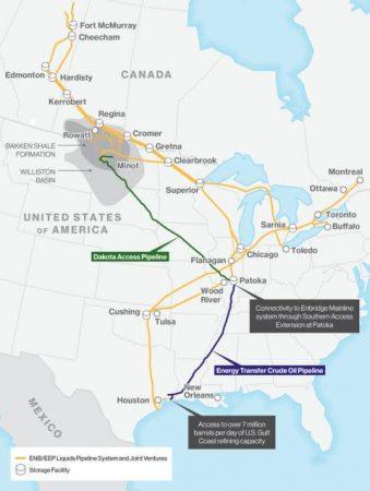 CLICK TO ENLARGE | Enbridge's existing pipeline network and the Bakken pipeline system. PHOTO: Enbridge