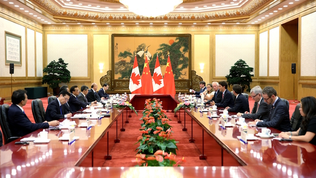 Prime Minister Justin Trudeau is in China this week on his first official visit, ahead of the G20 meeting in Hangzhou next week. PHOTO: Prime Minister's Office