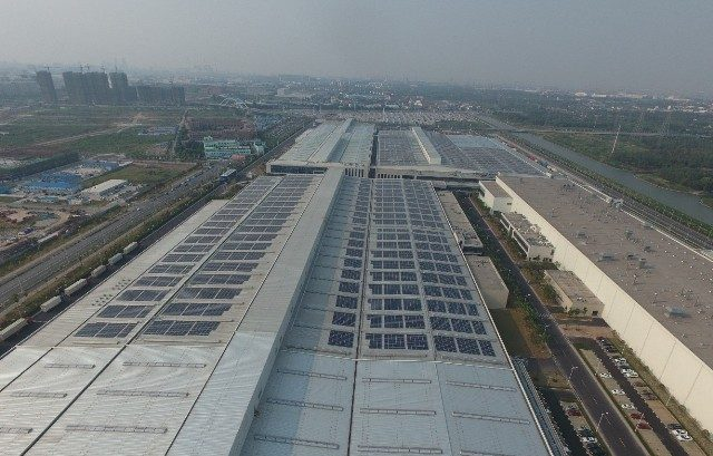 GM is currently installing 10 MW of solar at its Jinqiao Cadillac assembly plant in Shanghai, its first major solar project in China. PHOTO: GM