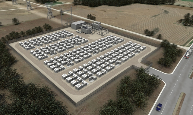 A rendering of a Tesla energy storage site. PHOTO: Tesla
