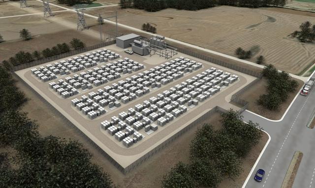 A rendering of a Tesla energy storage site. PHOTO: Tesla