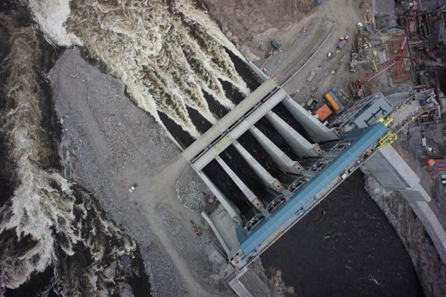An aerial view of the spillway at the Muskrat Falls hydro site. PHOTO: Nalcor Energy