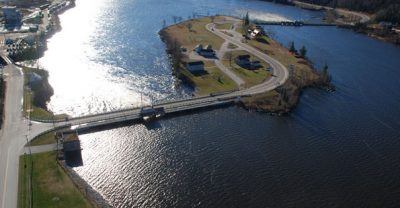 The Quebec dam pictured on the left, while the Ontario dam is seen on the right. PHOTO: Public Services and Procurement Canada