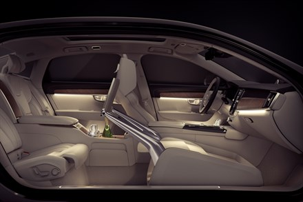 A version of the new S90 replaces the front passenger seat with a touchscreen console. PHOTO: Volvo Car Corp.