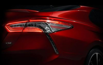 Toyota released a teaser shot of the new, more sleakly-designed 2018 Camry. PHOTO: Toyota