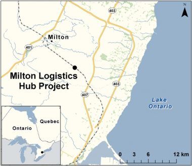 Location of the proposed CN intermodal hub outside Milton, Ont. PHOTO: CEAA